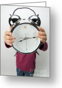 Large Clock Greeting Cards - Girl holding alarm clock over face Greeting Card by Sami Sarkis