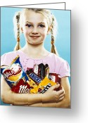Body Image Greeting Cards - Girl Holding Crisps And Chocolate Greeting Card by Kevin Curtis