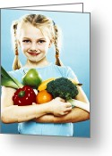 Body Image Greeting Cards - Girl Holding Fruit And Vegetables Greeting Card by Kevin Curtis