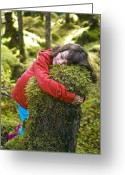 Tree-covered Greeting Cards - Girl Hugging A Tree Stump Greeting Card by David Nunuk