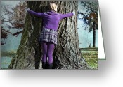 Women Greeting Cards - Girl Hugging Tree Trunk Greeting Card by Joana Kruse