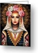 Woman Tapestries - Textiles Greeting Cards - Girl in Bulgarian national costume Greeting Card by Stoyanka Ivanova