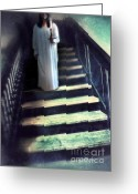 Nightgown Greeting Cards - Girl in Nightgown on Steps Greeting Card by Jill Battaglia