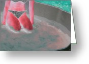 Woman In Pool Greeting Cards - Girl In Pool Greeting Card by Louis Nugent