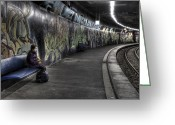 Metro Greeting Cards - Girl In Station Greeting Card by Joana Kruse