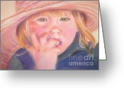Overalls Greeting Cards - Girl in Straw Hat Greeting Card by Julie Brugh Riffey