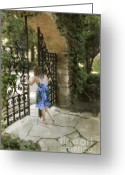 Pensive Greeting Cards - Girl in Sundress Opening an Iron Gate Greeting Card by Jill Battaglia