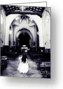 White Dress Greeting Cards - Girl in the Church Greeting Card by Jenny Rainbow