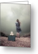 Suitcase Greeting Cards - Girl In The Dunes Greeting Card by Joana Kruse