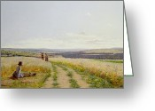 Scythe Greeting Cards - Girl in the Fields   Greeting Card by Jean F Monchablon