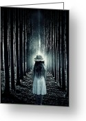 Thriller Greeting Cards - Girl In The Forest Greeting Card by Joana Kruse