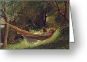 Laying Greeting Cards - Girl in the Hammock Greeting Card by Winslow Homer