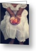 White Dress Greeting Cards - Girl Is Holding A Heart Greeting Card by Joana Kruse