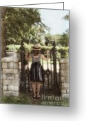 Pensive Greeting Cards - Girl Looking Over Iron Gate Greeting Card by Jill Battaglia