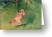 Homer Greeting Cards - Girl on a Swing Greeting Card by Winslow Homer
