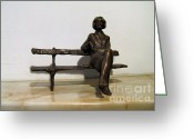 Spring Sculpture Greeting Cards - Girl on Bench Greeting Card by Nikola Litchkov