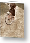 Regret Greeting Cards - Girl on Bike Looking Back Greeting Card by Jill Battaglia