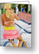 Girl On Bike Greeting Cards - Girl On Bike Greeting Card by Michael Lee