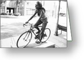 Girl On Bike Greeting Cards - Girl on Bike Sculpture Grand Junction CO Greeting Card by Tommy Anderson