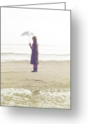 Melancholic Greeting Cards - Girl On The Beach With Umbrella Greeting Card by Joana Kruse