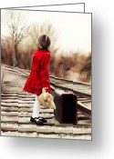 Adorable Bunny Greeting Cards - Girl on Tracks Greeting Card by Stephanie Frey