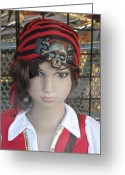 High Fashion Greeting Cards - Girl Pirate Mannequin Face Portrait Greeting Card by Kathy Fornal