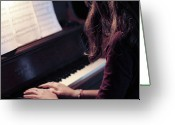 Brown Hair Greeting Cards - Girl Playing Piano Greeting Card by Alison Titus