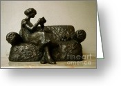 Love Letter Sculpture Greeting Cards - Girl reading a letter Greeting Card by Nikola Litchkov