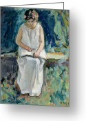 Signature Greeting Cards - Girl Reading Greeting Card by Henri Lebasque