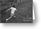 White T-shirt Greeting Cards - Girl running away on Great Wall of China Greeting Card by Sami Sarkis