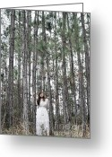 Linen Greeting Cards - Girl Standing With Trees Greeting Card by Caryn Drexl