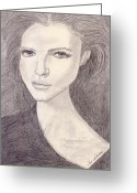 Drawing Greeting Cards - Girl Stare Greeting Card by Jose Valeriano