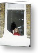 Pressing Greeting Cards - Girl Staring Out Of Snowy Window Greeting Card by Ian Boddy