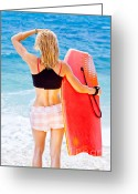 Surf Lifestyle Greeting Cards - Girl surfer on the beach Greeting Card by Anna Omelchenko