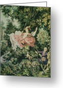 Jumping Tapestries - Textiles Greeting Cards - Girl Swinging Tapestry Greeting Card by Unique Consignment