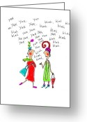 Yak Greeting Cards - Girl Talk Greeting Card by Karon Melillo DeVega
