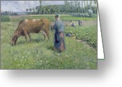 Femme Painting Greeting Cards - Girl Tending a Cow in Pasture Greeting Card by Camille Pissarro