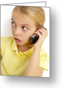 Clandestine Greeting Cards - Girl Using Mobile Phone Greeting Card by Ian Boddy