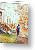 Autumn Scenes Greeting Cards - Girl Walking By Geraniums In Clay Pots Westmount City Scene Quebec Art Greeting Card by Carole Spandau