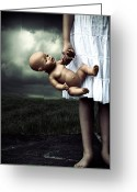 Threatening Greeting Cards - Girl With A Baby Doll Greeting Card by Joana Kruse