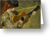 Listening Greeting Cards - Girl with a Guitar Greeting Card by Pierre Auguste Renoir