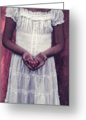 White Dress Greeting Cards - Girl With A Heart Greeting Card by Joana Kruse
