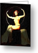 Man Pastels Greeting Cards - Girl with a hoop Greeting Card by Stefan Kuhn