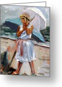 Clothed Figure Greeting Cards - Girl With A Parisol Greeting Card by Mark Lunde