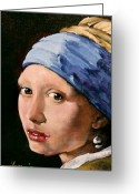 Vermeer Greeting Cards - Girl with a Pearl Earring a Reproduction of Vermeer Greeting Card by Joan Garcia