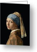 Headdress Greeting Cards - Girl with a Pearl Earring Greeting Card by Jan Vermeer