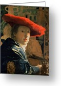 Rouge Greeting Cards - Girl with a Red Hat Greeting Card by Jan Vermeer