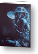 Decoration Pastels Greeting Cards - Girl with a white hat Greeting Card by Christo Wolmarans