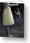 Oil Lamp Greeting Cards - Girl With An Oil Lamp Greeting Card by Joana Kruse