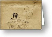 Ocean Art Greeting Cards - Girl With Balloons in Storm Greeting Card by Ocean